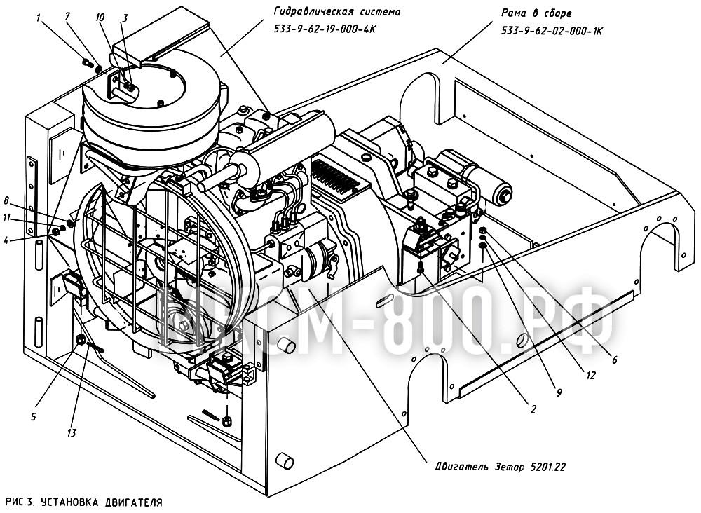 МКСМ-800 - Установка двигателя