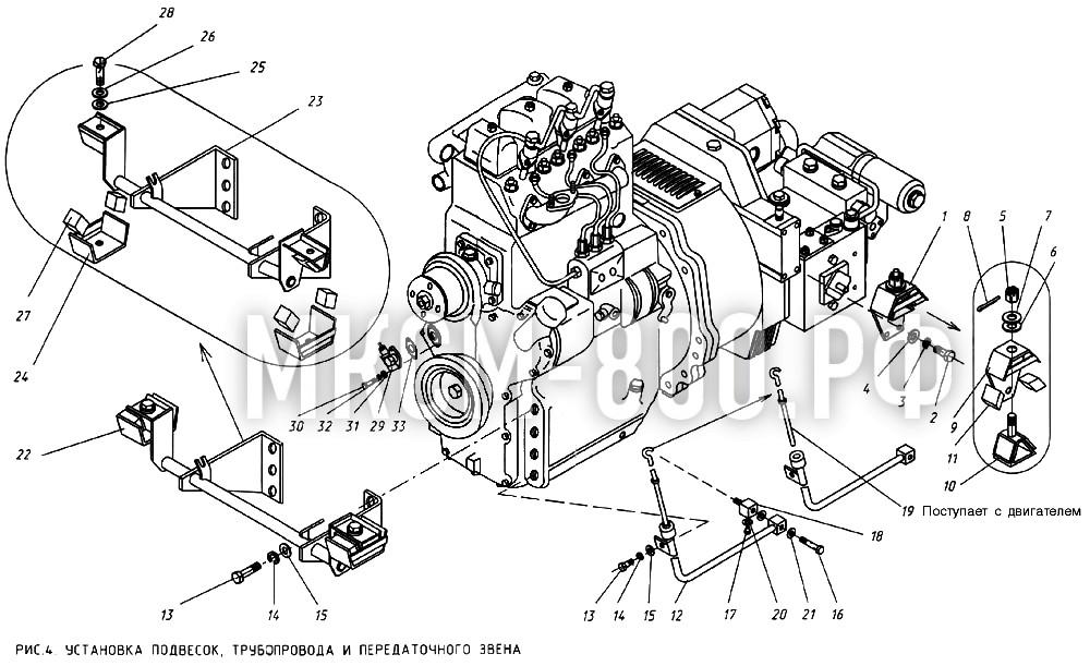 МКСМ-800 - Установка подвесок, трубопровода и передаточного звена