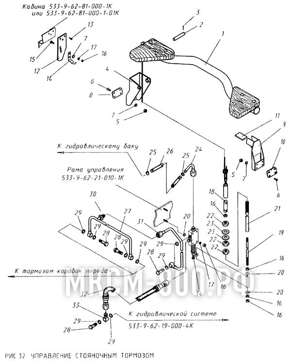 МКСМ-800 - Управление стояночным тормозом