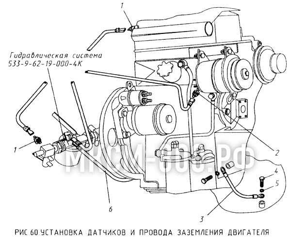 МКСМ-800 - Установка датчиков и провода заземления двигателя