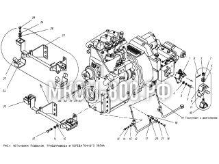 Установка подвесок, трубопровода и передаточного звена МКСМ-800