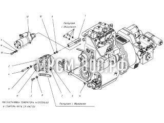 Установка генератора и стартера МКСМ-800