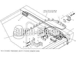 Установка проблескового фонаря и плафонов освещения кабины МКСМ-800