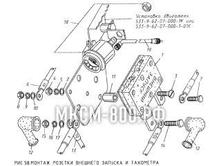 Монтаж розетки внешнего запуска и тахометра МКСМ-800